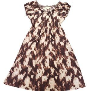 Michael Kors Brown Printed Short Sleeve Dress